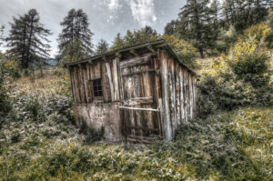 Wood cabin in Les Signeres, an abandoned mountain village above Monetier-Les-Bains, Ecrins (France)