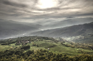 The Trebbia Valley seen from the top of the Pietra Parcellara mountain, Northern Appennins (Piacenza, Italy)