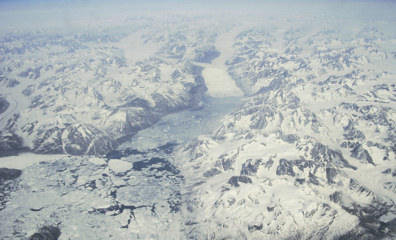 Flying over Greenland towards Canada